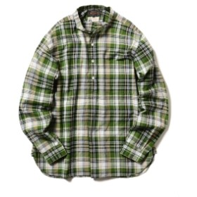 【WEB限定】BEAMS PLUS / マドラスチェック バンドカラー プルオーバーシャツ メンズ カジュアルシャツ GREEN XL