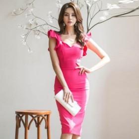 ピンク フリル ひざ丈 ワンピースドレス 韓国ファッション ノースリーブ 可愛い 袖コンシャス シンプル 上品 エレガント pc12005