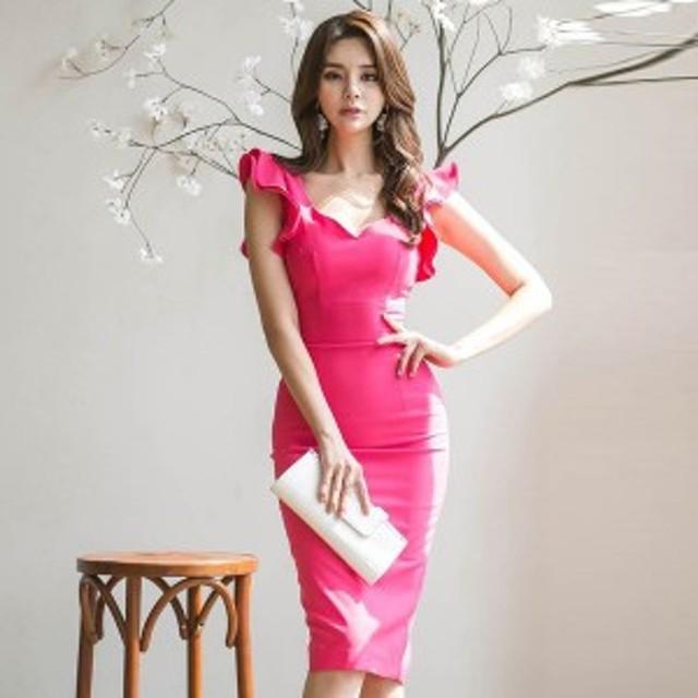 b561b92586a4a ピンク フリル ひざ丈 ワンピースドレス 韓国ファッション ノースリーブ 可愛い 袖コンシャス シンプル 上品 エレガント pc12005