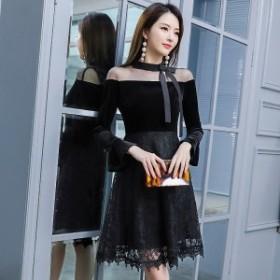 ドレス 通販 韓国 ワンピース 花柄 レース ネックリボン 40代 30代 20代 50代 結婚式 二次会 食事会 発表会 お呼ばれ