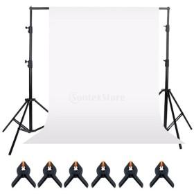 ノーブランド品  白/緑 スタジオ ポートレート撮影 写真背景 背景クランプ 背景スタンド 高さ調節可能 - 白
