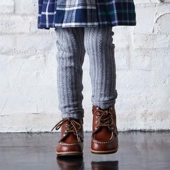 ミキハウス ケーブル編みレギンス風パンツ チャコールグレー