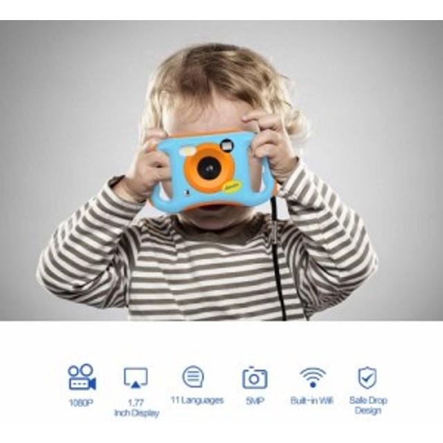 キッズデジタルカメラ 500万画素写真撮影 1080P ビデオ撮影 Wi-Fi接続 1.77インチ液晶画面 テレビ出力