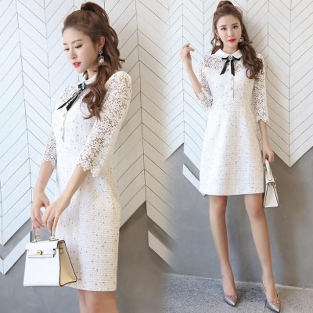 韓国のファッションステーキ春小さな風薫るセレブな気質着やせ修身レースワンピースa字スカート