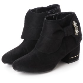 マフモフ Mafmof Realta(レアルタ) グログランリボンのショートブーツ (ブラック・スエード)