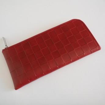 薄くて軽くて大容量なL字長財布 14枚カードポケット 牛革 格子柄レッド Squeezeスクイーズ