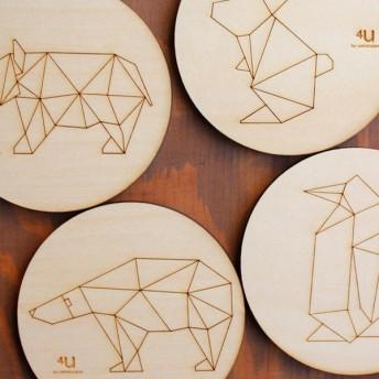 コースター 木製 動物 折り紙 コップ敷き 日本製 ( プレート 敷き 木 アニマル グッズ おもしろ おしゃれ )