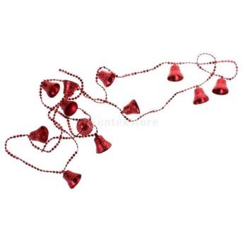 ノーブランド品 3色 クリスマス クリスマスツリー 鐘の装飾 装飾品 ボールチェーン ぶら下げ - 赤
