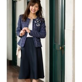 フォーマルスカートスーツ ツィード調ノーカラージャケット+フレアスカート