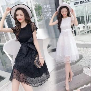 韓国ファッション夏の半袖版修身の痩せ気質高腰A字レースのワンピース