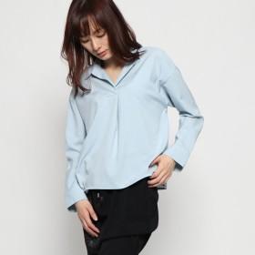 ジーラ GeeRA 裾タックスキッパーシャツ (スモーキーブルー)