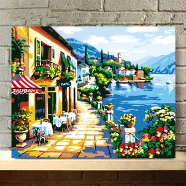 数字塗り絵 油絵風 海辺のカフェ店 ヨーロッパの街 大人の塗り絵