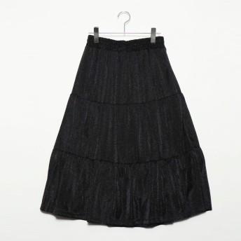スタイルブロック STYLEBLOCK ラメ天竺ティアードスカート (ブラック)