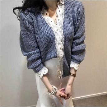 [55555SHOP]初秋新品セール 秋冬 レディーストップス レディースファッション ニット Vネック 2色