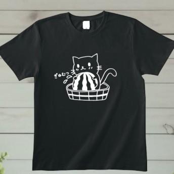 スイカぎゅむっネコTシャツ黒 猫Tシャツ ねこTシャツ 綿100% 80 XXLサイズ