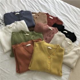 【春夏新品発売】韓国ファッション/大人気/CHIC気質/スリムフィット/Vネック/長袖/ニットトップス/セーター