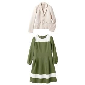 2点セット(テーラードジャケット+配色ワンピース)(プライベートレーベル) セレモニースーツ(式服・受験・七五三・発表会),women's suits ,plus size