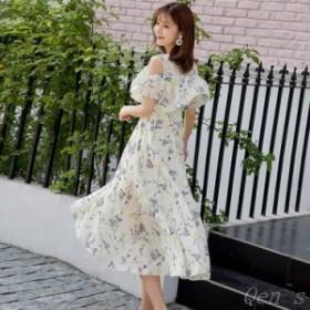 オープンショルダー ワンピース フリル フレア 体型カバー ミモレ 結婚式 花柄  お呼ばれ シフォン  春夏