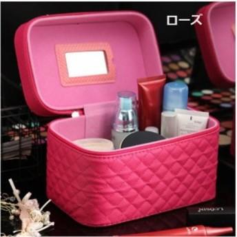 メイクボックス コスメ収納 鏡付き 化粧箱 メイクBOX メイクアップ 小物入れ 持ち運び可 ネイル プロ かわいい 防水 PU