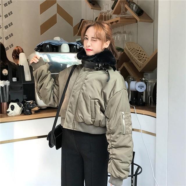 韓国ファッション 中綿 コート レディース ショートコート 冬 スタンドカラー コート スタンドネック ブルゾン 上品 暖か アウター 女の子 女子 学生 大人