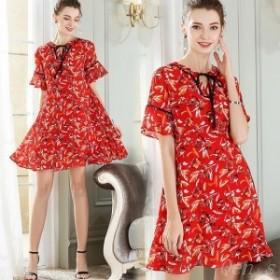 Aライン  レトロ柄 花柄 きれいめ スキッパーネック レディース ドレス 半袖 フェミニン  ワンピース リボン