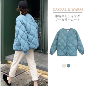 送料無料 キルティングジャケット レディース ノーカラー フードなし ゆったり 大きいサイズ 軽量 カジュアル 冬 中綿 ブルゾン アウター ショート丈 無地 おしゃれ 軽い 防寒 防風 あったか 暖