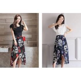 半袖  セットアップ 膝丈 きれいめ レディース スカート 可愛い ブラウス 花柄  フレア フィッシュテール