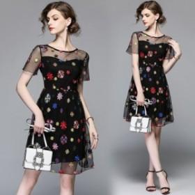 刺繍レディース ファッション ワンピース 結婚式 ドレス タイト ワンピ パーティードレス 二次会 発表会 同窓会 通勤 普段着