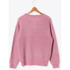 ニット・セーター - Lugnoncure モール糸畦編みVプルオーバー