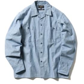 BEAMS PLUS / シャンブレー ミリタリー オープンカラーシャツ メンズ カジュアルシャツ SAX L
