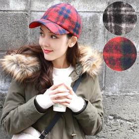帽子全般 - coca ほっこりウール風チェック柄キャップ(帽子 ぼうし ベースボールキャップ 起毛 ホワイト レッド 18aw coca)