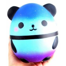 【送料無料】 卵型 ブルー パンダ スクイーズ 低反発 ぬいぐるみ おもちゃ 動物 かわいい ストレス解消 もちもち 新品