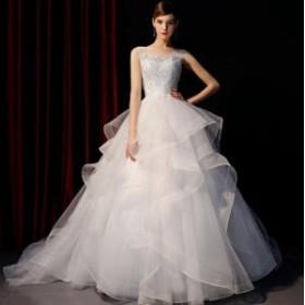 結婚式 レース ウェデイングドレス 花嫁 チュール ロングドレス 結婚式ドレス きれいめ レディース 着痩せ ドレス 高級