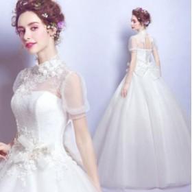 フェミニン 立ち襟 ホワイト 編み上げ 花嫁 素敵 花柄 結婚式 ブライダルドレス ウェデイングドレス 着痩せ 袖あり リボン付き