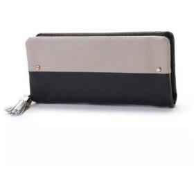 ペルケ perche ゴートレザー袋縫いラウンド長財布 (ブラックグレー)
