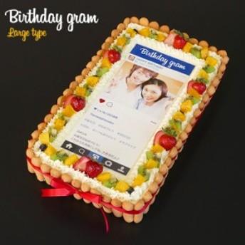 インスタ風写真ケーキ L 特大バースデーケーキ 生クリームのショートケーキ