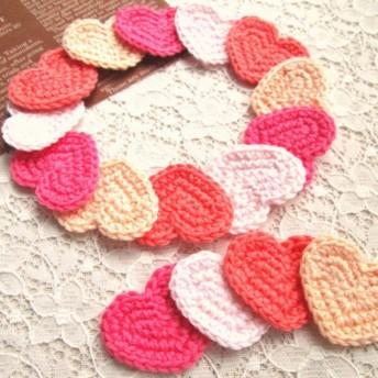再販*手編み やわらかコットンオリジナルハートモチーフ 4色セット