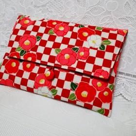 御朱印帳入れ / 1冊用/ 椿の花・市松模様赤色