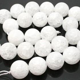 【残りわずか!】天然石 ビーズ ライン 卸売 クラッククリスタル(水晶) 丸玉ラウンドビーズパーツ 14mm