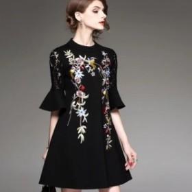 新作レース刺繍ドレス5分袖Aラインレディース ファッション  結婚式 ドレス  ショート  パーティードレス大きいサイズ 上品 お呼ばれ