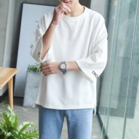 メンズ ビッグ Tシャツ 5分袖 7分袖 クルーネック ゆったり シルエット