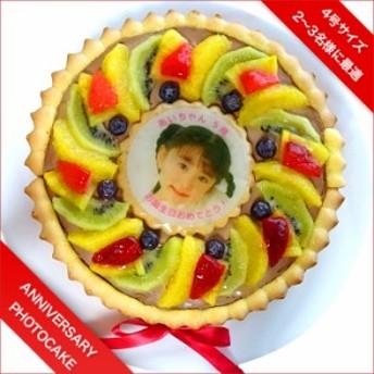 ビスキュイ付き写真ケーキ フレッシュフルーツ乗せ生チョコクリームのショートケーキ 4号 12cm