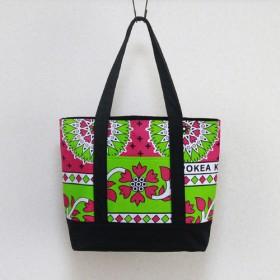 アフリカ布 『 カンガ 』のトートバッグ( 肩掛けタイプ )