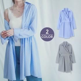 シャツ - U-BASIC ブラウス UBASIC ユーベーシック 韓国 ファッション ボーダー シャツ ロング 秋服 冬服 秋冬
