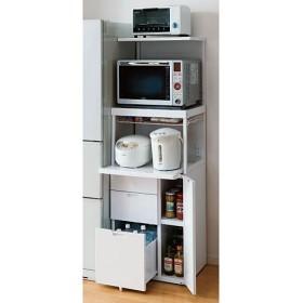 キッチン家電ラック(引き出し付き) - セシール ■サイズ:D,B,A