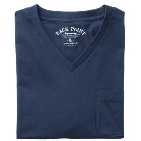 【レディース】 オーガニックコットン100%素材のVネックTシャツ(半袖) ■カラー:ダークネイビー ■サイズ:5L,LL,3L,7L,M,S,L