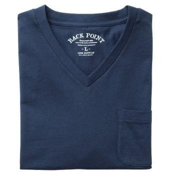 【レディース】 オーガニックコットン100%素材のVネックTシャツ(半袖) ■カラー:ダークネイビー ■サイズ:S,3L,5L,7L,M,L,LL