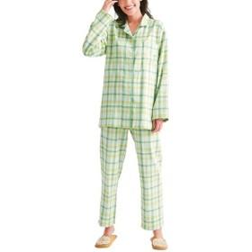 【レディース】 人気のチェック柄シャツパジャマ(綿100%)(二重ガーゼ) ■カラー:グリーン系×イエロー系:チェック ■サイズ:L,LL,M,3L,5L