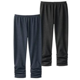 綿混デニム調裾シャーリング7分丈レギンス2枚組 (レギンス・スパッツ・オーバーパンツ)
