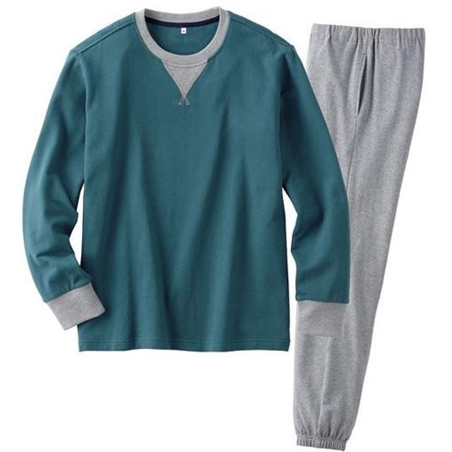 【レディース】 綿100%裏毛スウェットパジャマ(男女兼用) ■カラー:ダークグリーン ■サイズ:S,M,L,LL,3L,5L